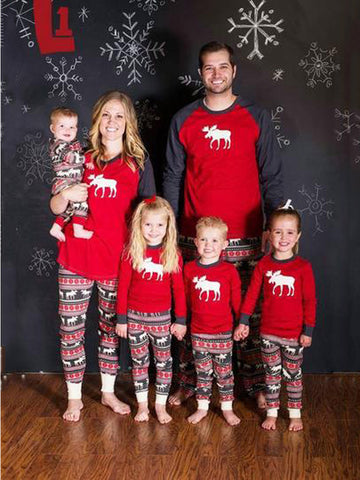 Family Christmas Pajamas Happy Family Matching Cartoon Deer Print Jumpsuit