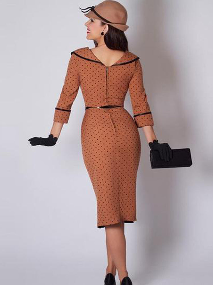 Polka Dot Sexy Elegant Sheath Patchwork Button Bodycon Dress