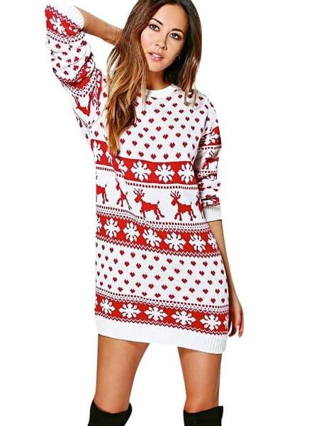 Lady Jumper Pullover long Christmas Warm Brief Sweaters