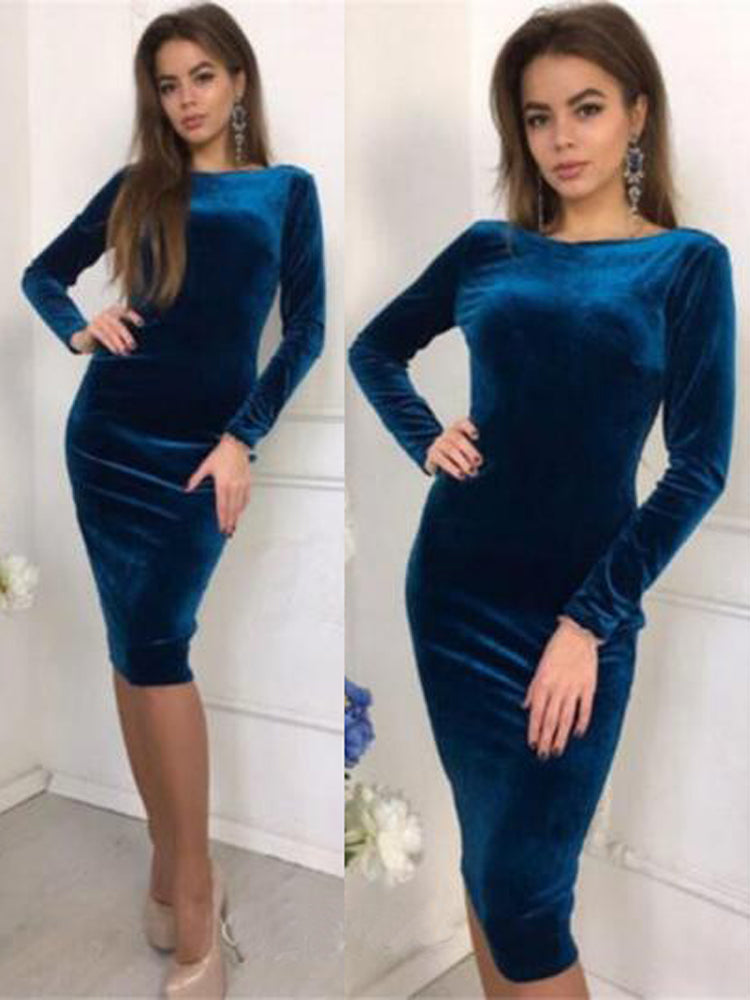 Round Neck Long Sleeve Bandage Bodycon Dress