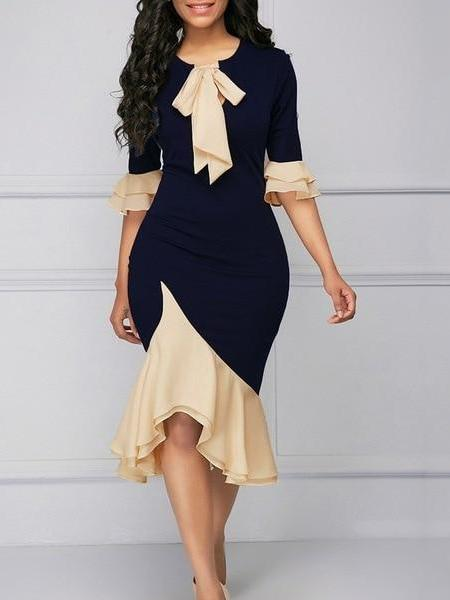 Vintage Elegant Office Lady Flare Sleeve Bow Collar Bodycon Dress