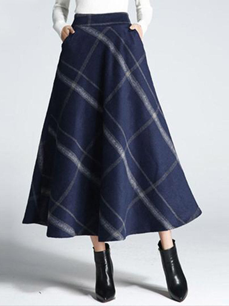 Winter Thick Wool Blends Plaid Patchwork Print A-line Skirts