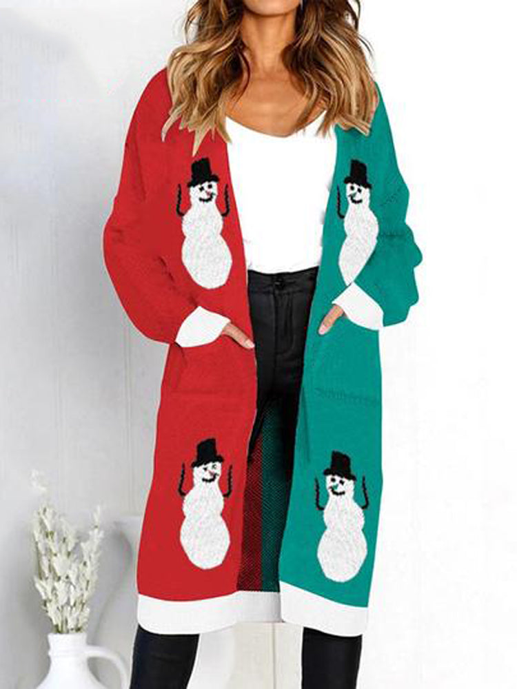 Knitted Print Long Sleeve Christmas Sweater