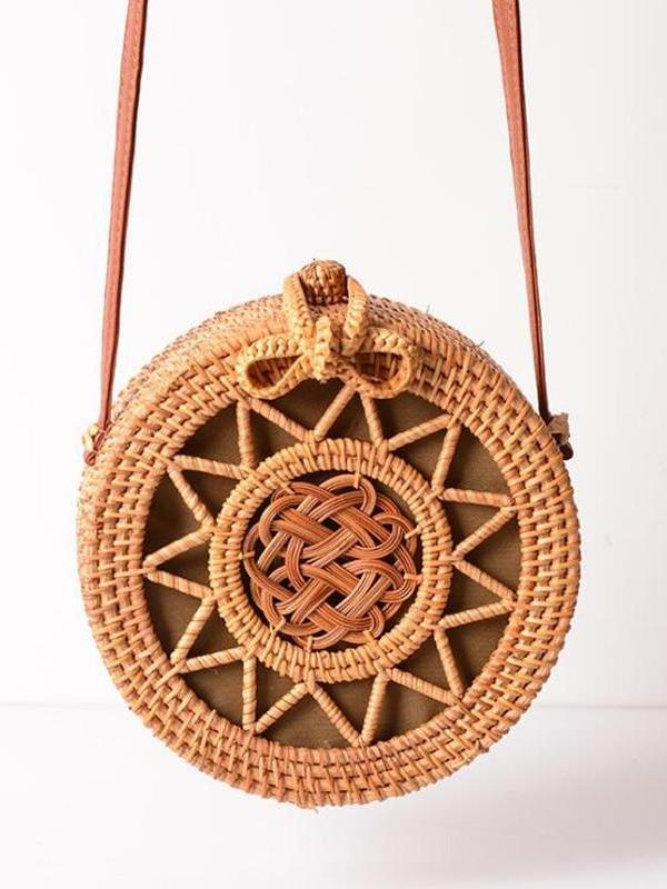 Bali Hand Woven Rattan Bag Round Shoulder Crossbody Bags