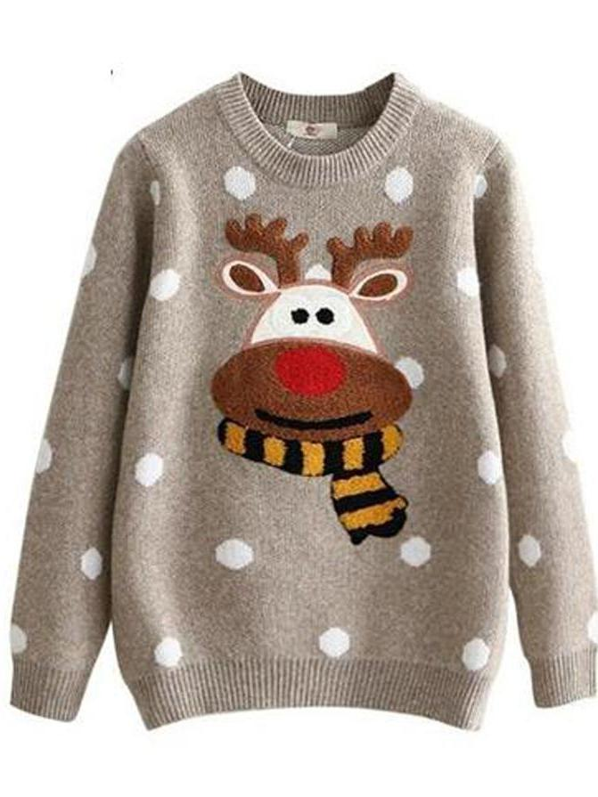 Merry Pretty Winter Warm Christmas Deer Cute Dot Cotton Knitted Sweaters