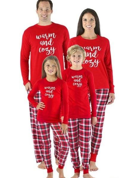 Family Christmas Pajamas Sets Letters Print Long Sleeve Top Plaid Pants