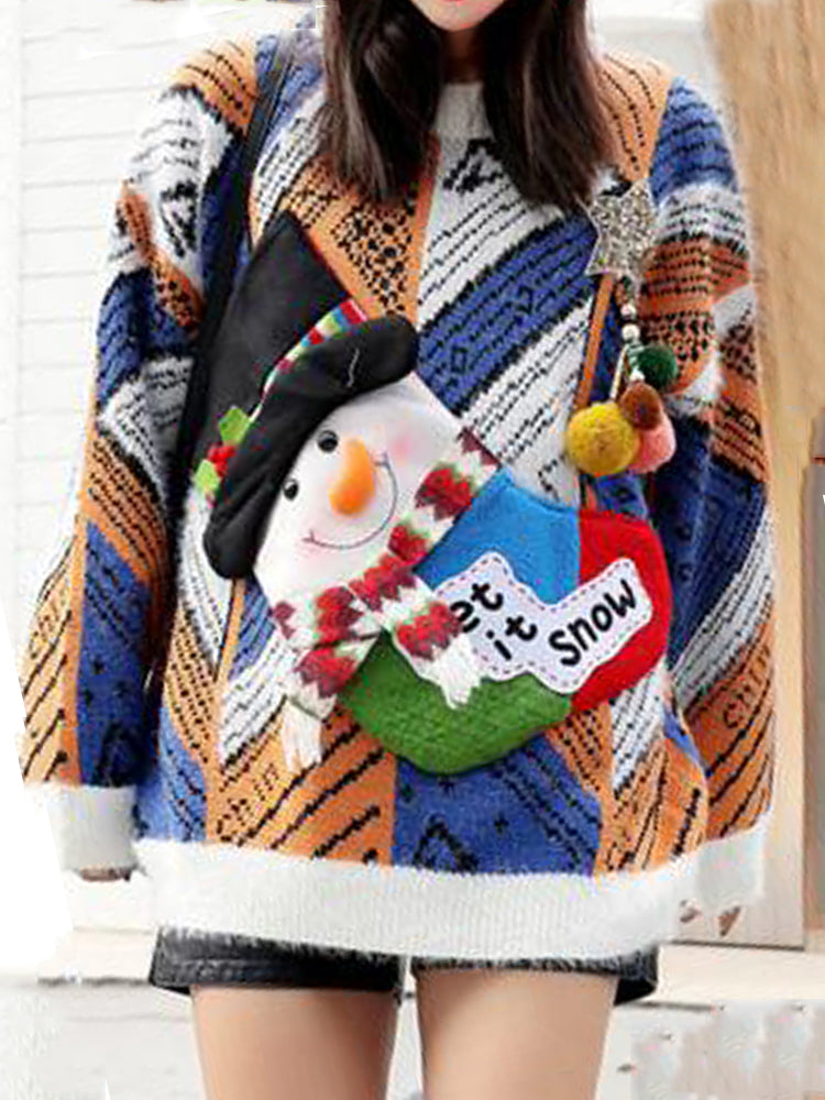 Christmas Pullover Loose Snow Man Mohair Patchwork  Sweater