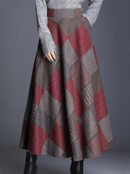 Plaid High Waist Ankle Length A-line Skirt