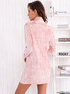 Fashion Pink Elegant Form Fitting Long Sleeve Dress