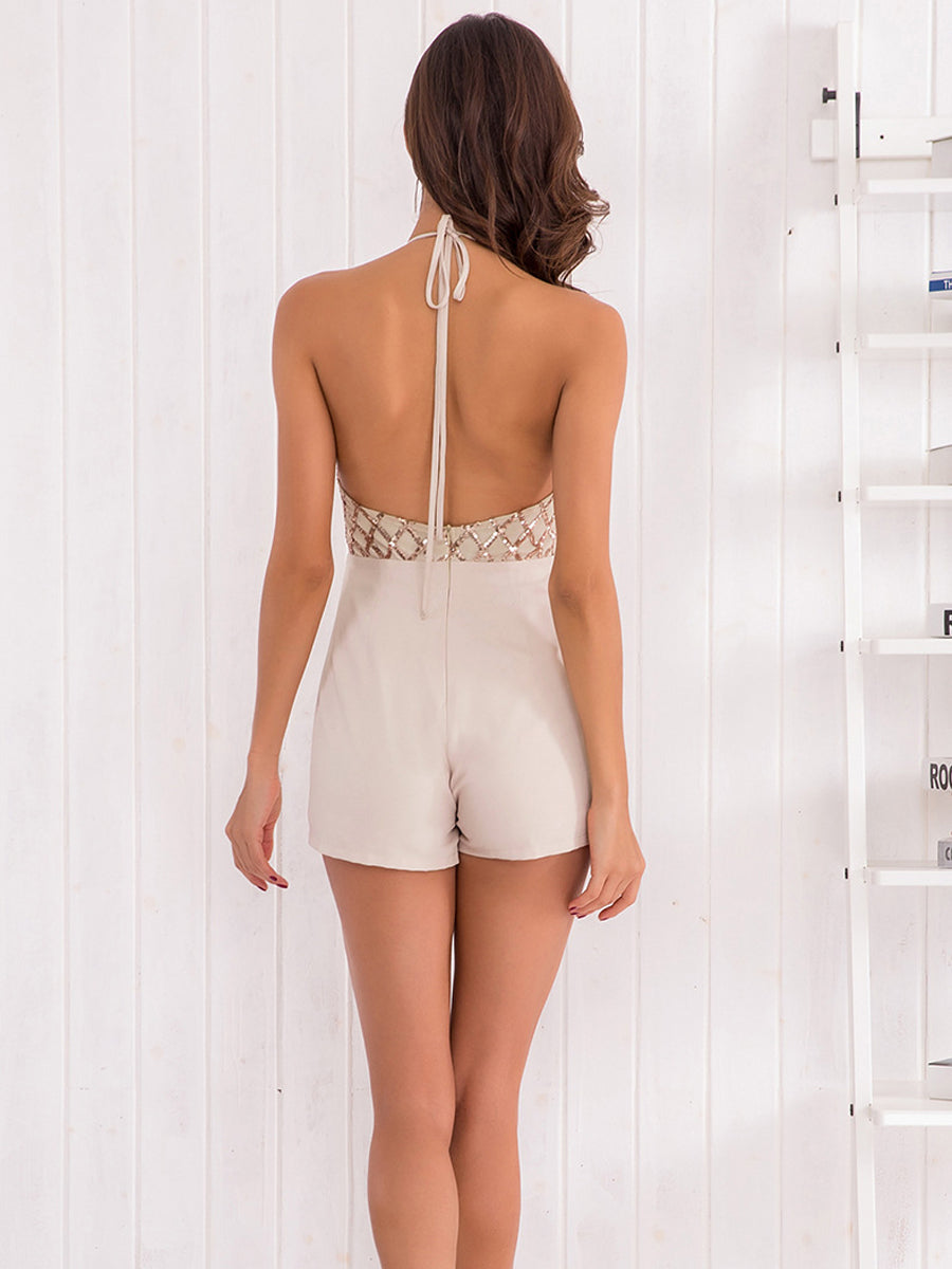 Elegant Halter Slim Open Shoulder Sexy Backless Jumpsuit