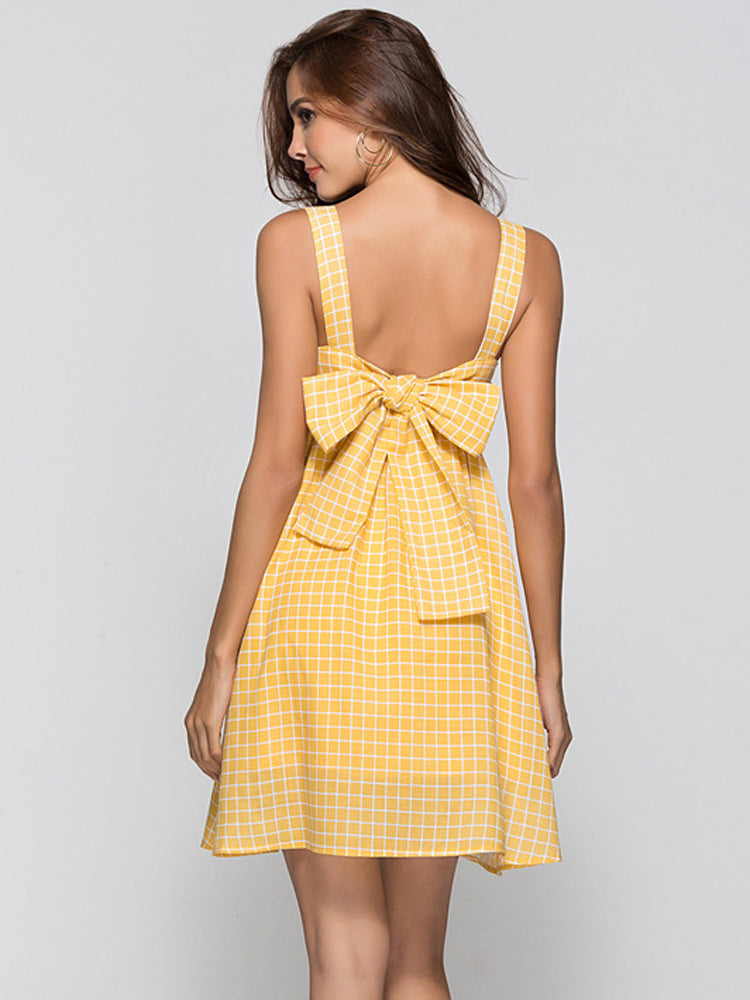 Strap Plaid A-line Backless Dress