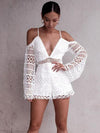 Lantern Sleeve V Neck Lined With Short Openwork Lace Sling Jumpsuit