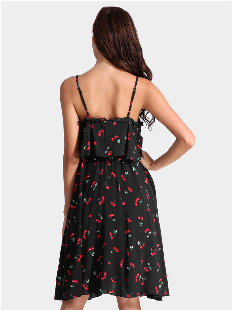 Strap Chiffon Cherry Print Dress