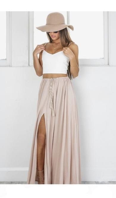 SOPHIE plain split skirt