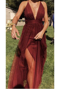LETITIA split mesh prom dress