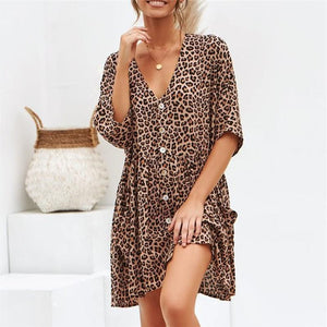 AMPARO leopard button dress