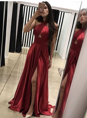 KAYLA backless halter prom dress