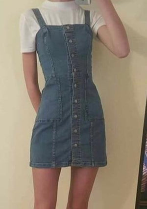 BELLA Overall Denim Dress