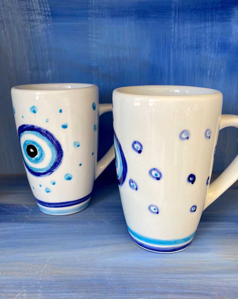 White Ceramic Mugs with Evil Eye