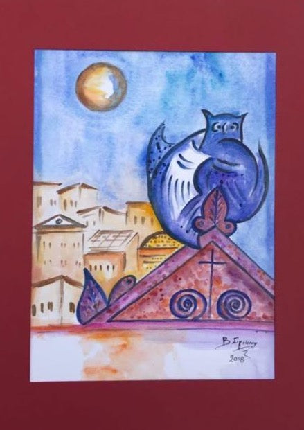 nocturnal bird, night owl, blue and purple shades and full moon and a few houses