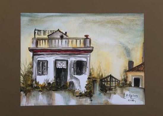 Traditional house authentic  watercolor painting