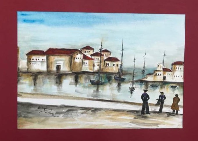 watercolor painting with port of Piraeus