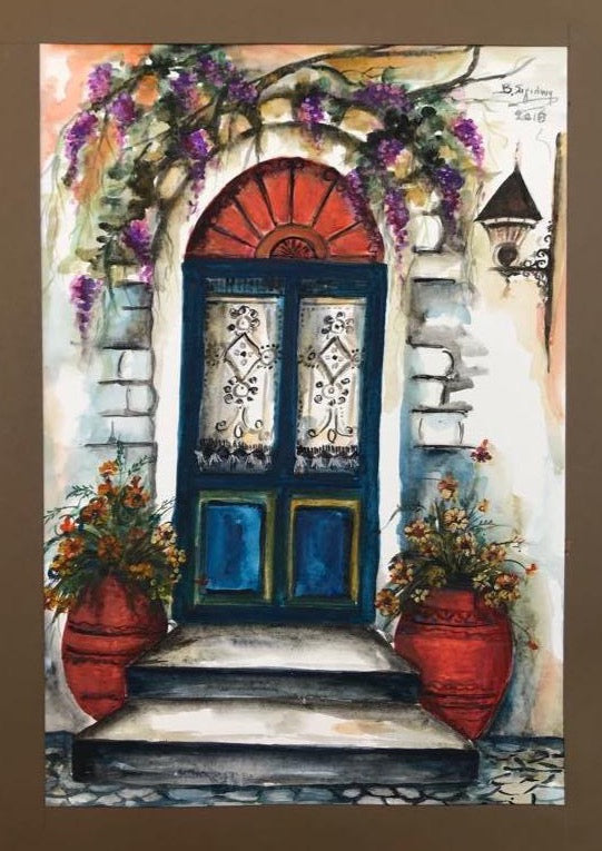 Watercolour painting with a blue door, red vases and flowers