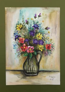 watercolor painting with flowers in a vase and green, red, purple colors