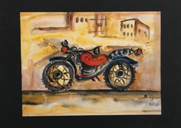 Watercolor painting with Ducati motorcycle hand painted