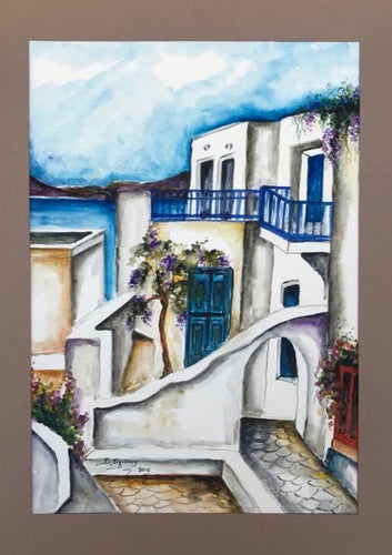 greek island, aisles, balconies and blue shades