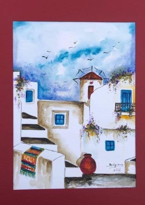 blue and white shades, a windmill and white houses, a greek island in a watercolor painting