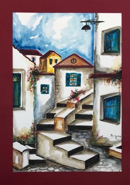 Greek village, a watercolor painting with stairs and aisles, windows and roofs
