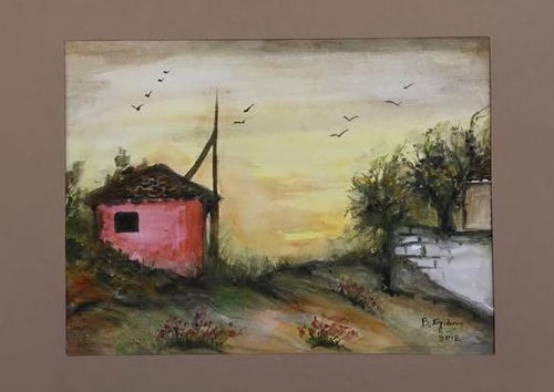 watercolor painting a red house, yellow sky, and green scenery