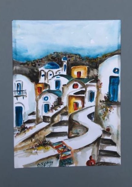 Santorini island watercolor painting