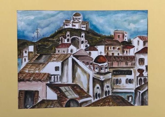 Authentic Athens watercolor painting