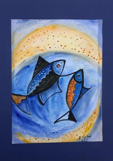 pisces, fishes, blue and yellow shades