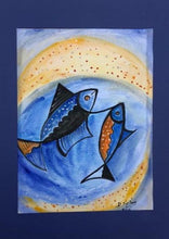 Load image into Gallery viewer, pisces, fishes, blue and yellow shades