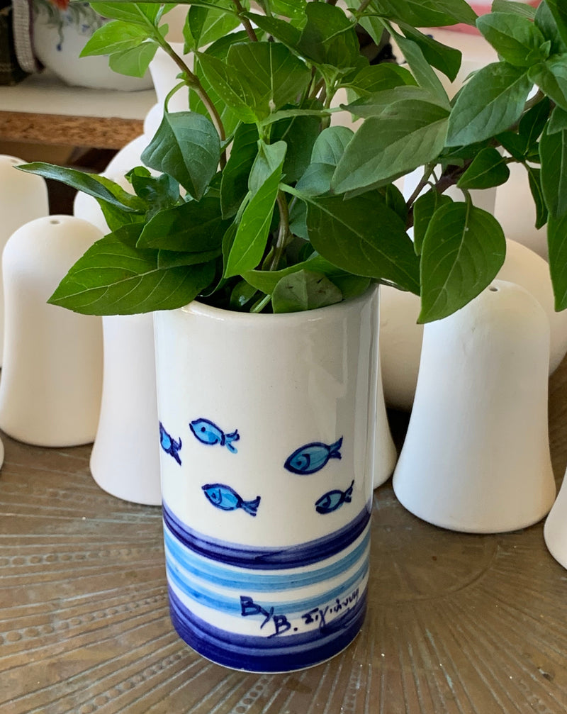 White Ceramic Vase with Stripes and Fish