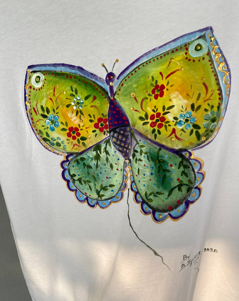 Hand-Painted Extended Shoulder Tee with Butterfly