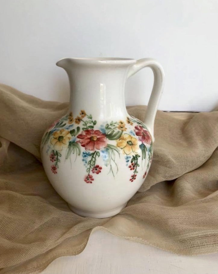 Handmade Ceramic Pitcher with Flowers