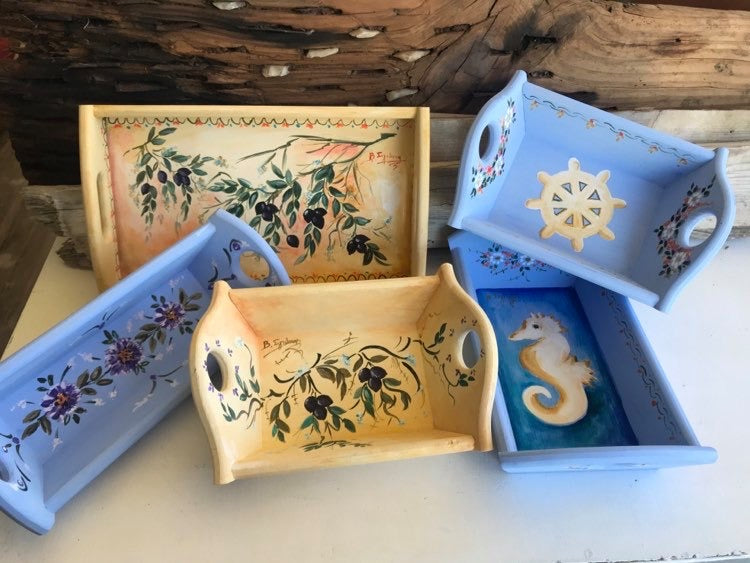 hand-painted wooden tray