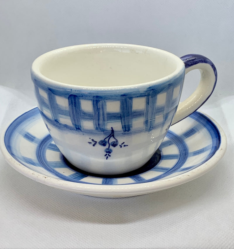 blue white cup and saucer