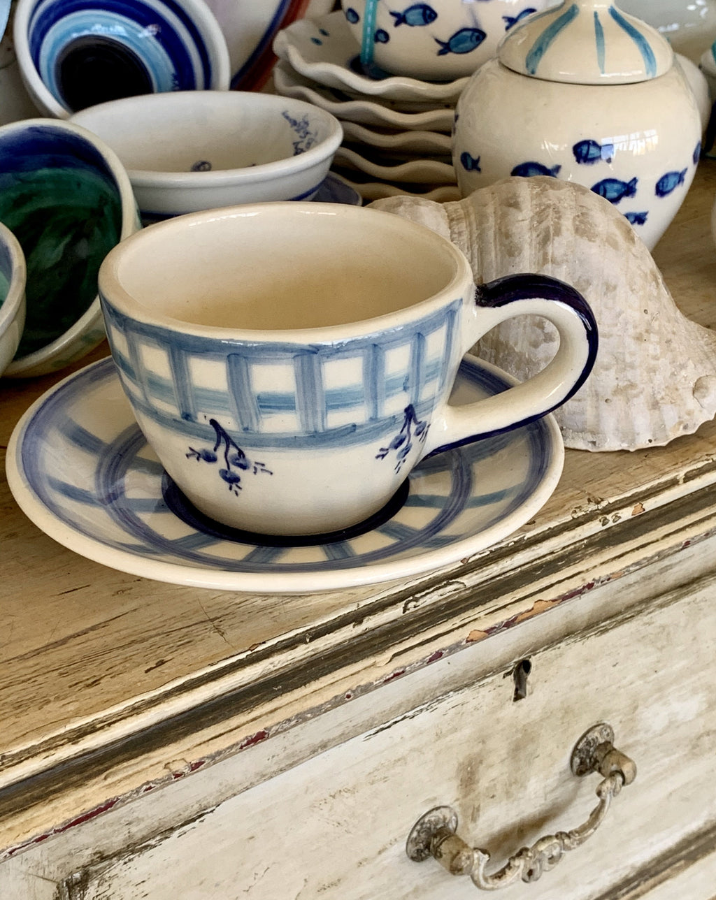 Hand-Painted Ceramic Cup and Saucer