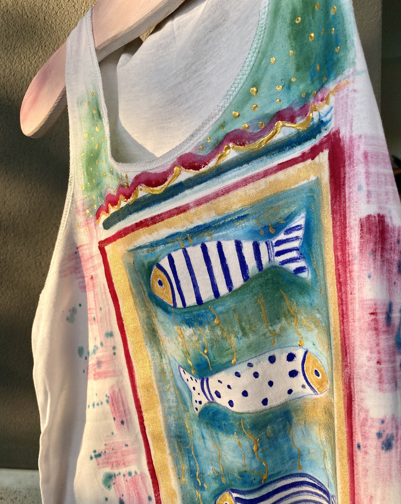 tank top with painted fish