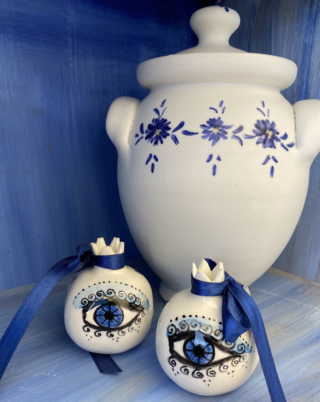 evil eye ceramic pomegranate