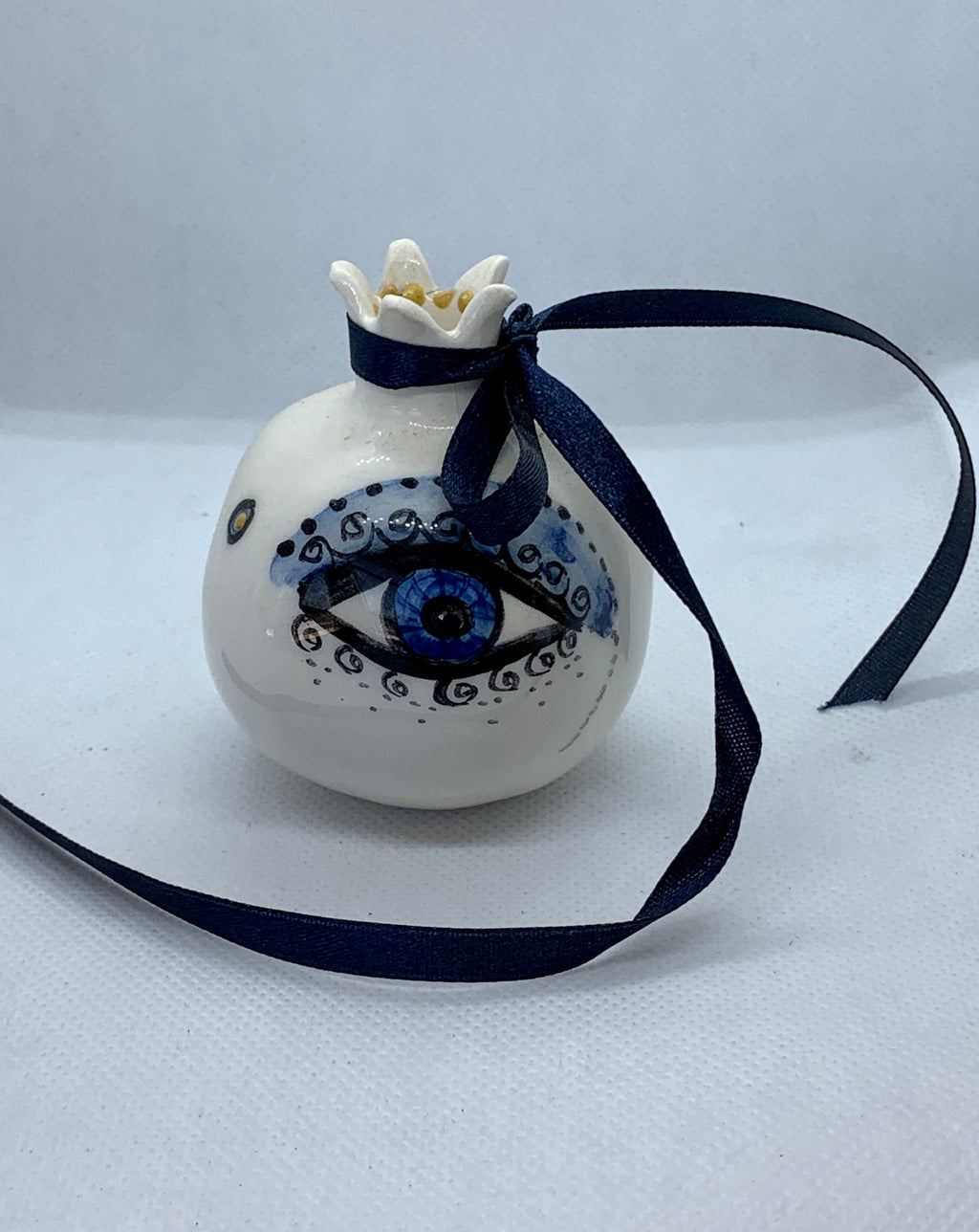 Evil Eye White Ceramic Pomegranate