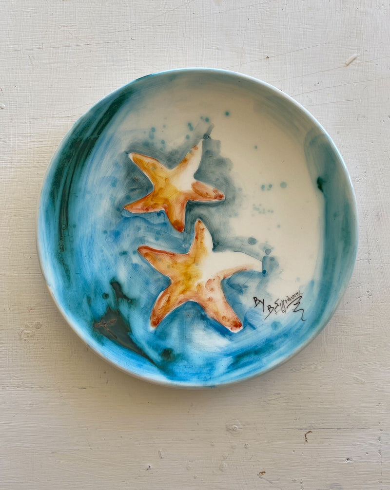 ceramic plate with starfish