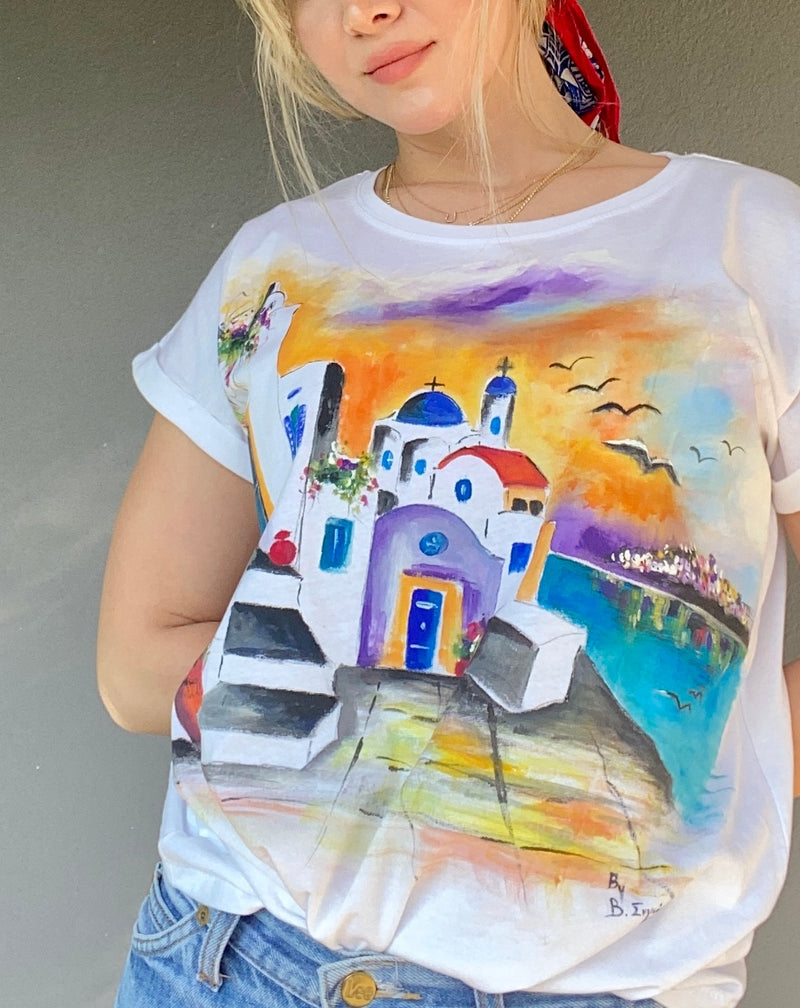 Landscape painting in a t-shirt