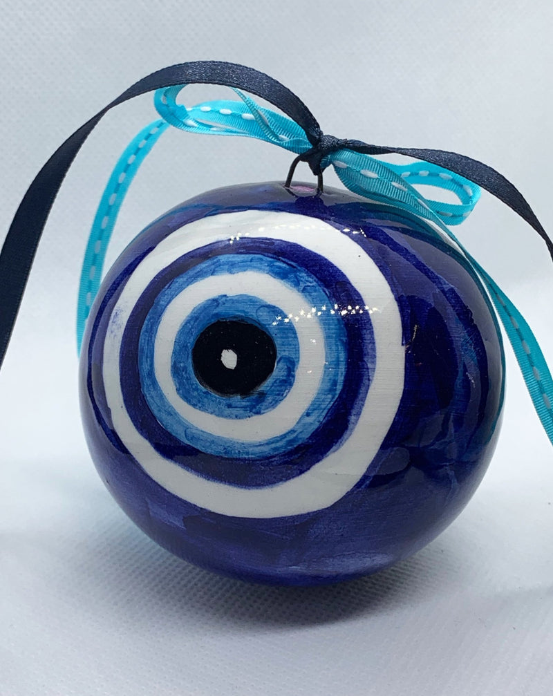 blue evil eye ceramic christmas ball