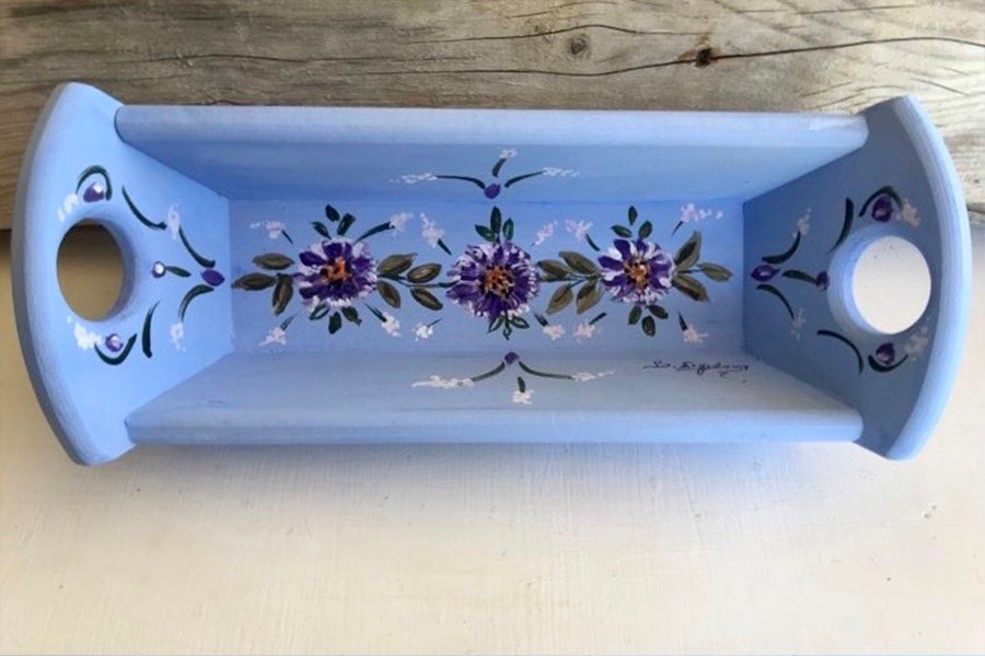 Wooden Bread Basket with Flowers